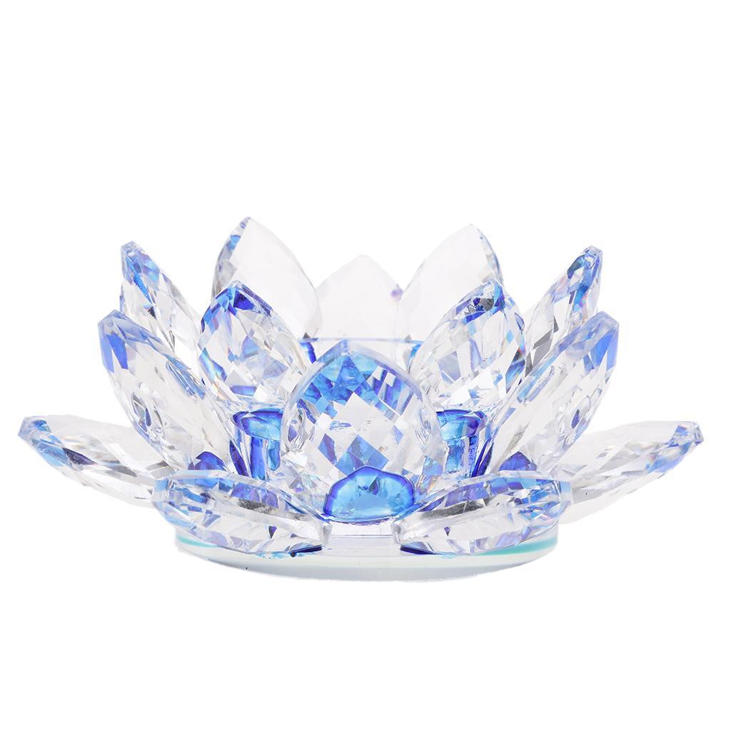 2Pcs-Buddhist-Crystal-Glass-Lotus-Candle-Holder-Decor-12x5cm-Home-Decoration thumbnail 8