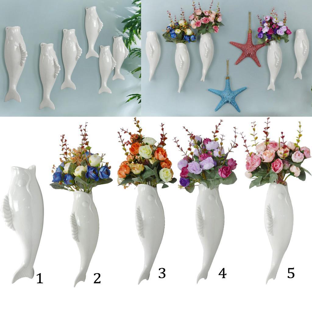 Plantes-murales-en-ceramique-de-poissons-suspendus-fleur-Vase-Mural-pour-la miniature 6