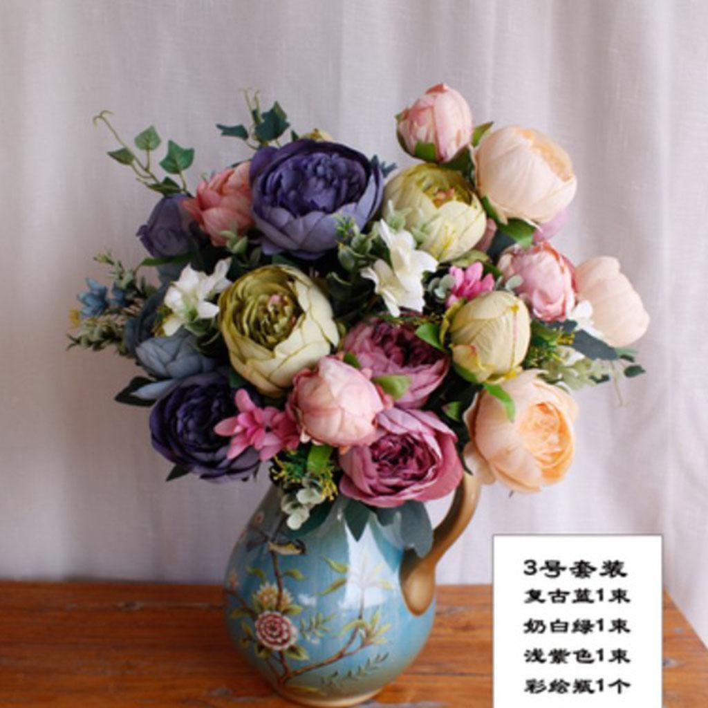 Vintage-Peony-Bridal-Silk-Flower-Wedding-Decor-Bride-Bridesmaid-Bouquet thumbnail 21