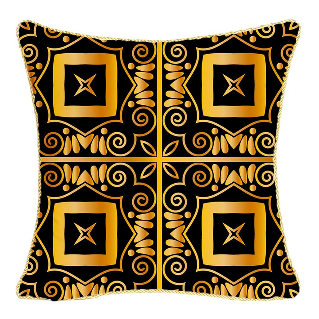 Square-Flannel-Pillowcase-Three-Stranded-Rope-Gold-Trimmed-Covers-Zipper miniature 6