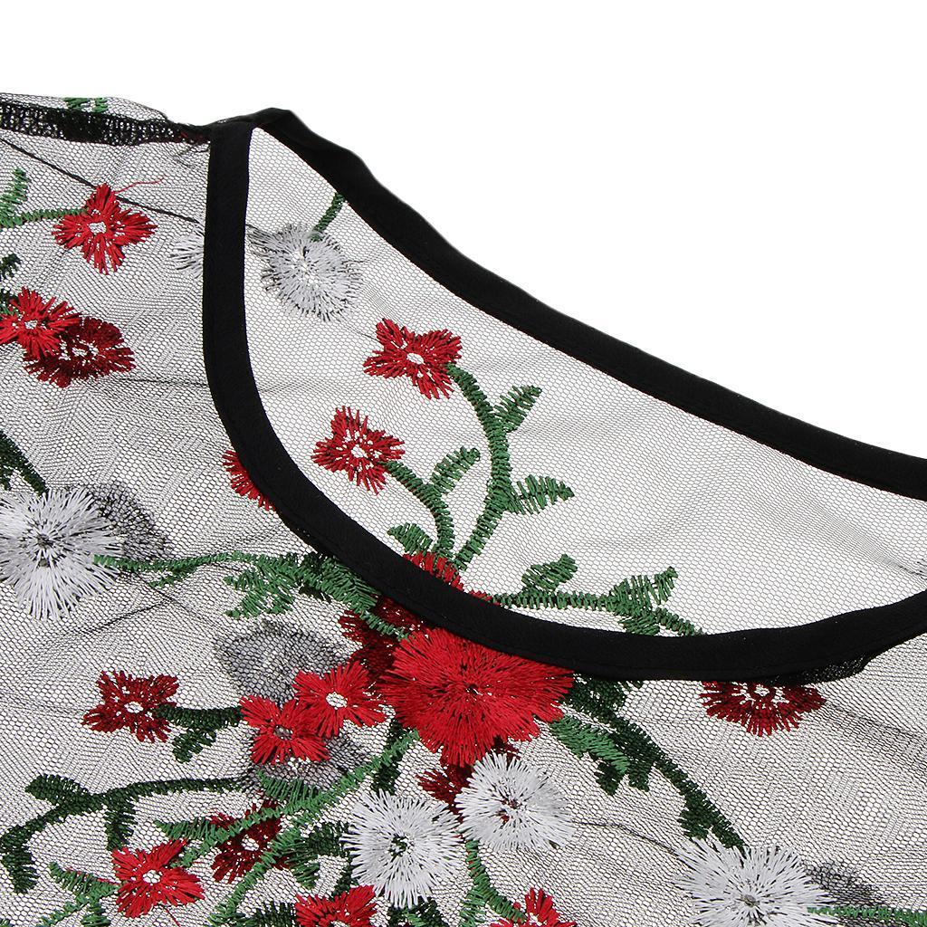 le-donne-sexy-sheer-nero-maglia-garza-t-shirt-ricamato-top-rose-pigiameria miniatura 18