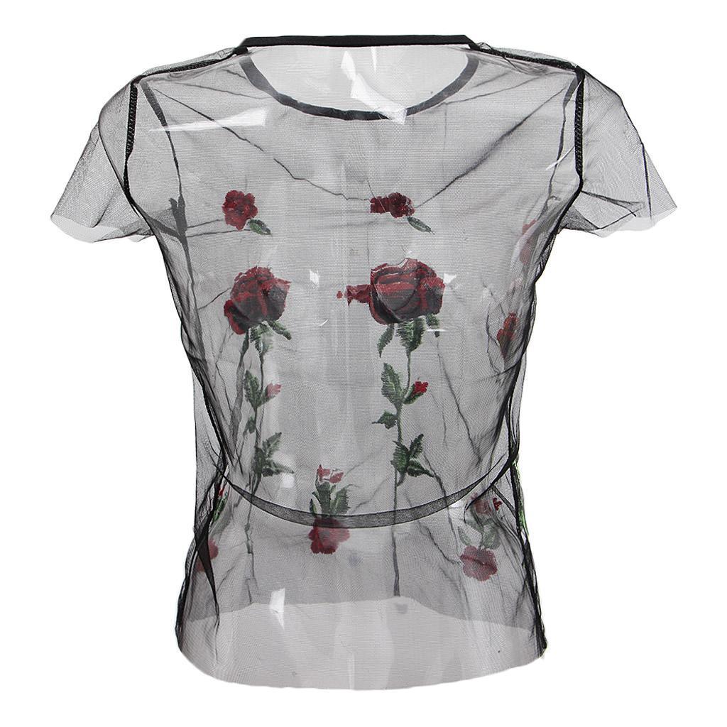 le-donne-sexy-sheer-nero-maglia-garza-t-shirt-ricamato-top-rose-pigiameria miniatura 19