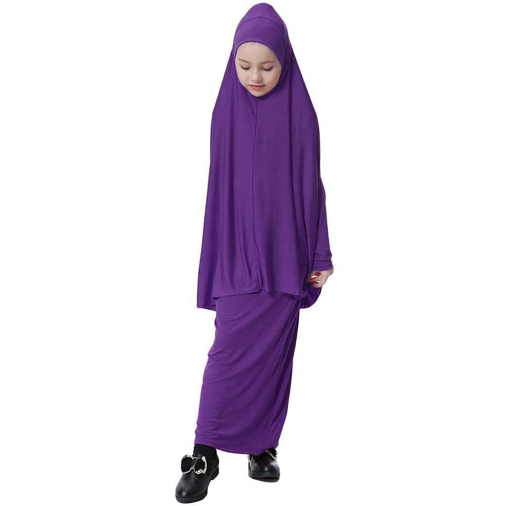 Fille-Robes-Musulmane-Islamique-a-Manches-Longues-Deux-Pieces-Priere-Robe miniature 31