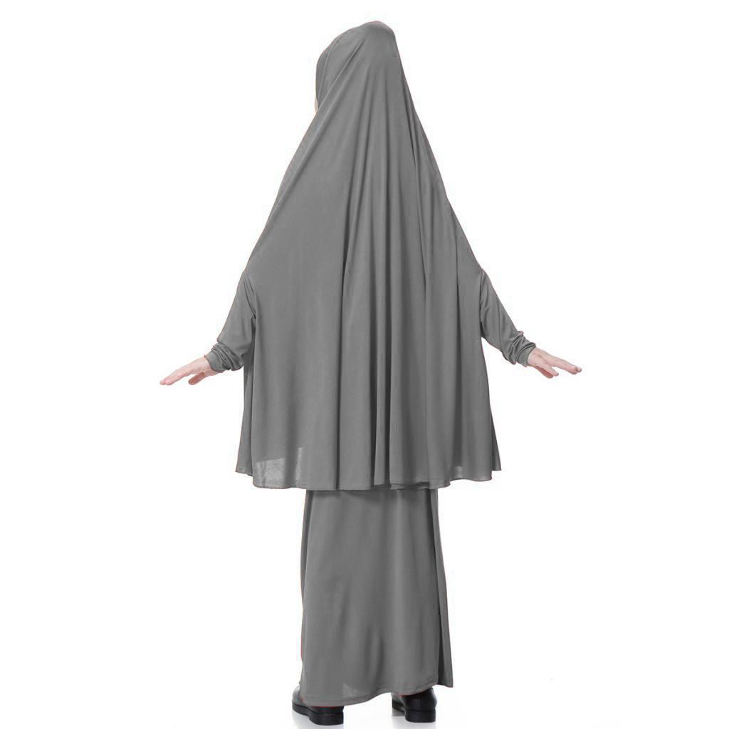 Fille-Robes-Musulmane-Islamique-a-Manches-Longues-Deux-Pieces-Priere-Robe miniature 46
