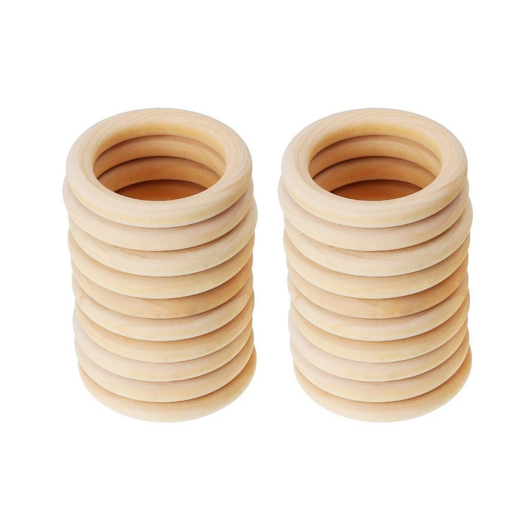 20pcs Handmade Wooden Natural Baby Teething Ring Chewie Teether Toy