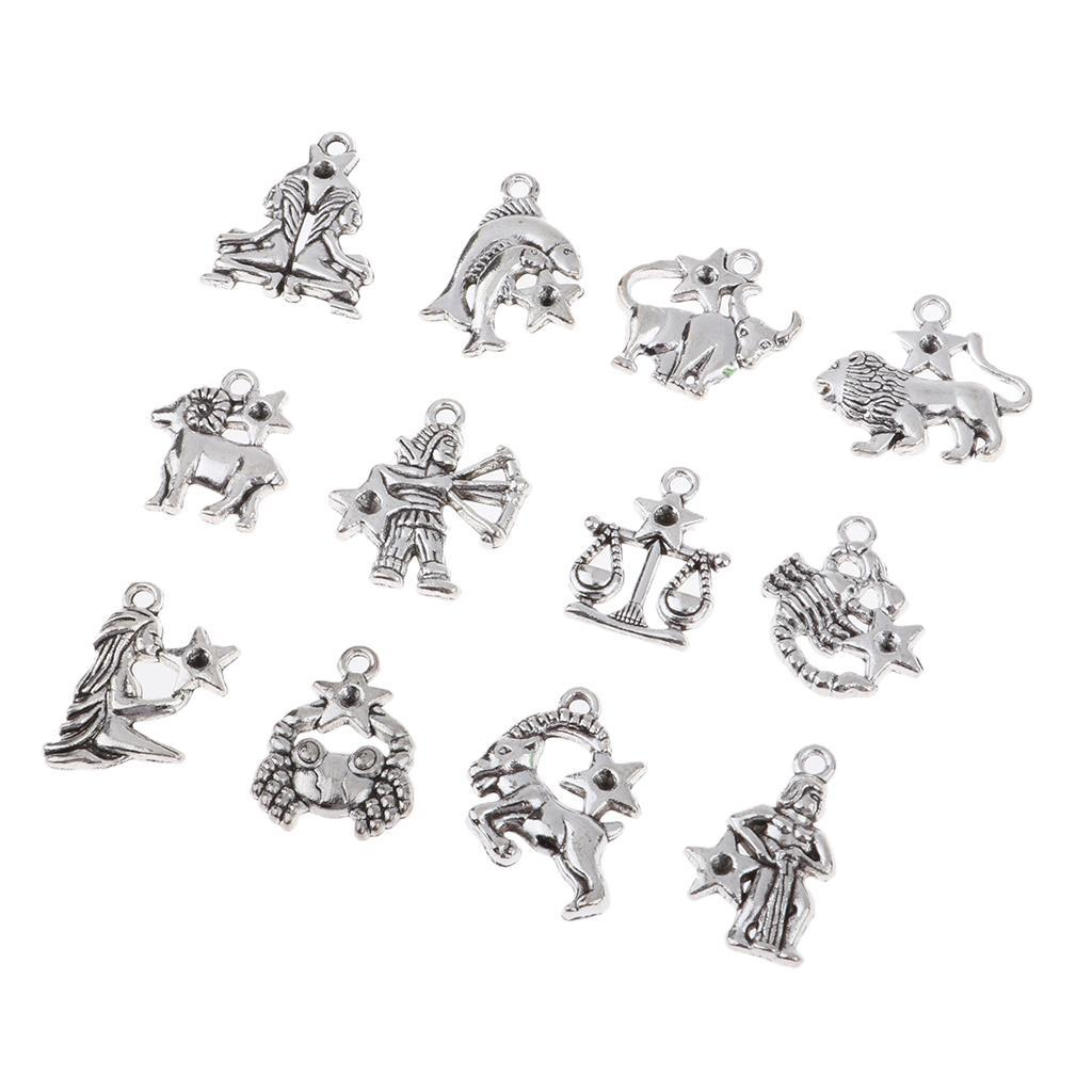 Jewelry-Making-Charms-12-Pieces-Zodiac-Pendants-DIY-for-Necklace-Bracelet miniature 6