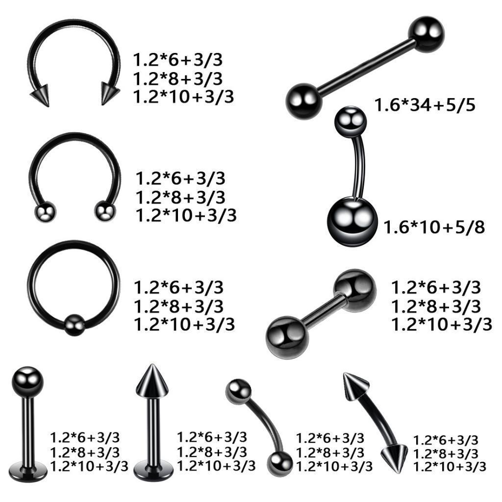 20Pcs-Body-Jewelry-Kit-Mix-Lot-Eyebrow-Nose-Tongue-Belly-Stud-Piercing-Bulk miniature 3