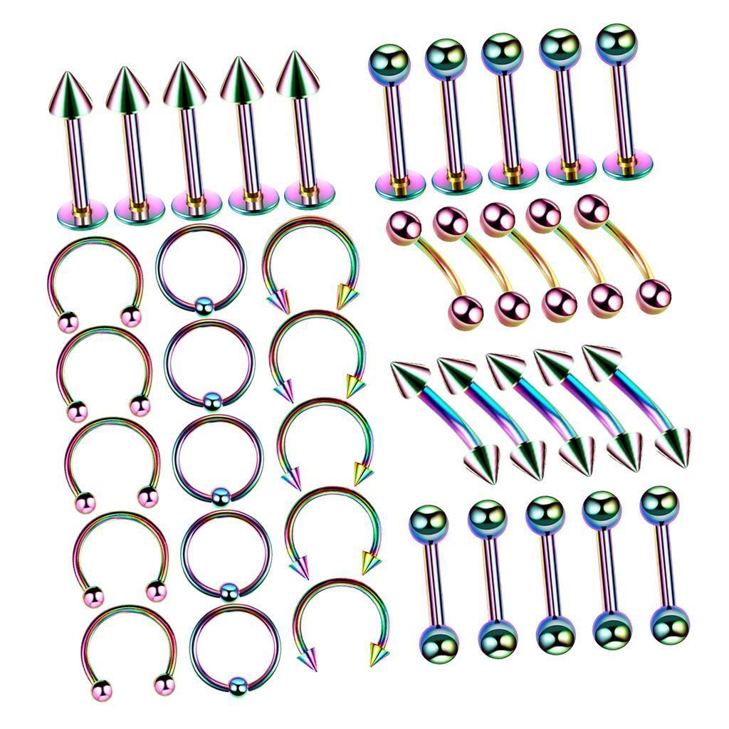 40Pcs-Body-Piercing-Kit-16G-Nose-Ring-Horseshoe-Lip-Tongue-Eyebrow-Tragus miniature 9