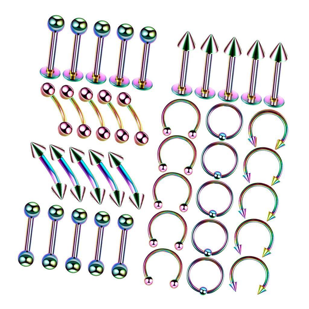40Pcs-Body-Piercing-Kit-16G-Nose-Ring-Horseshoe-Lip-Tongue-Eyebrow-Tragus miniature 10