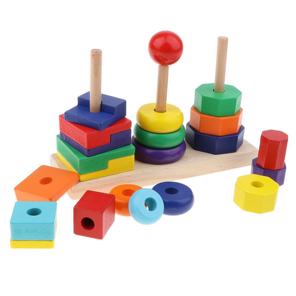 Baby Toddler Wooden Montessori Toys - Rainbow Stacking ...