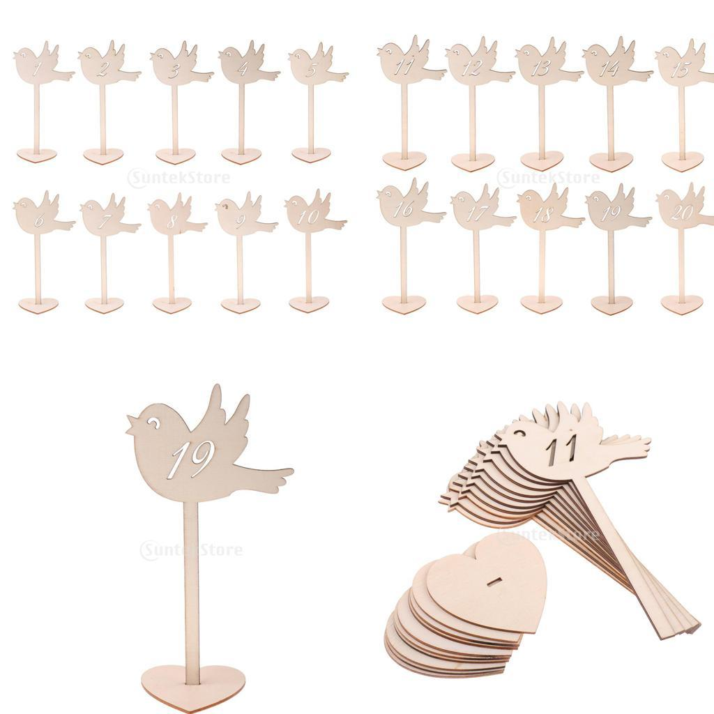 Natural Wooden Love Bird Table Number Stands Wedding Party ...