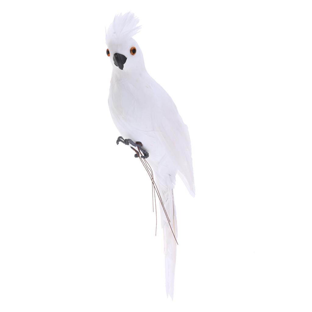 Künstlicher Ara Papagei Vogel Gartenfigur Garten Dekoration Ornament Weiß