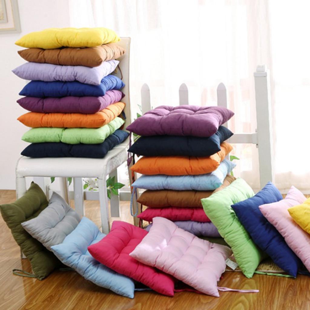 thumbnail 24 - Square-Chair-Cushion-Cushion-Pillow-for-Home-Office-14-Colors-40x40cm