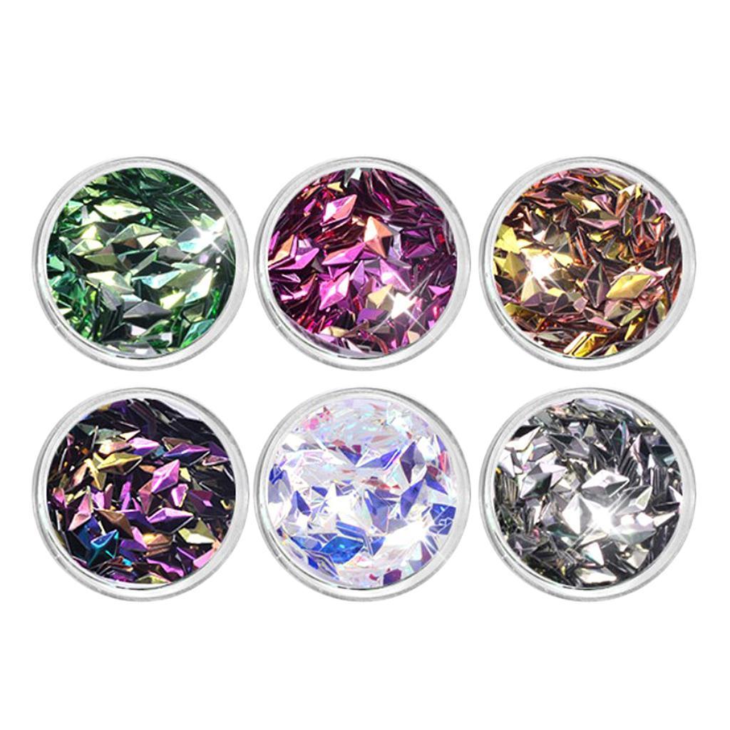 6 Pot/Set Mermaid Nail Glitter Sequins 3D Colorful Rhombus Paillette Manicure Nail Flakies Decoration