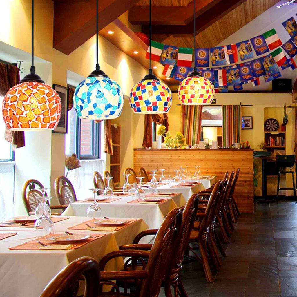 Mosaic-Style-Hanging-Light-Ceiling-Pendant-Lamp-Retro-Lampshade-Cafe-Restaurant thumbnail 91