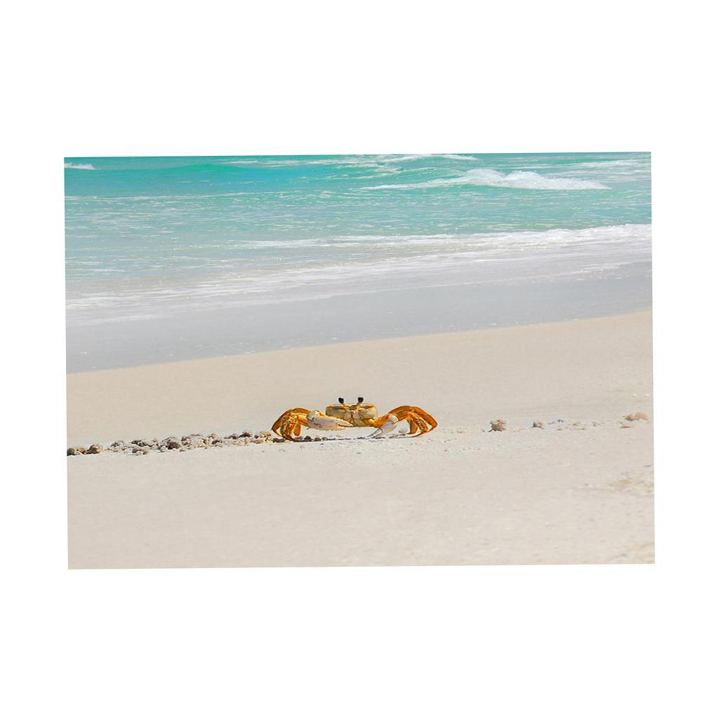 Beach Landscape With Fishermen: Crabs On The Beach Aquarium Background Poster Fish Tank