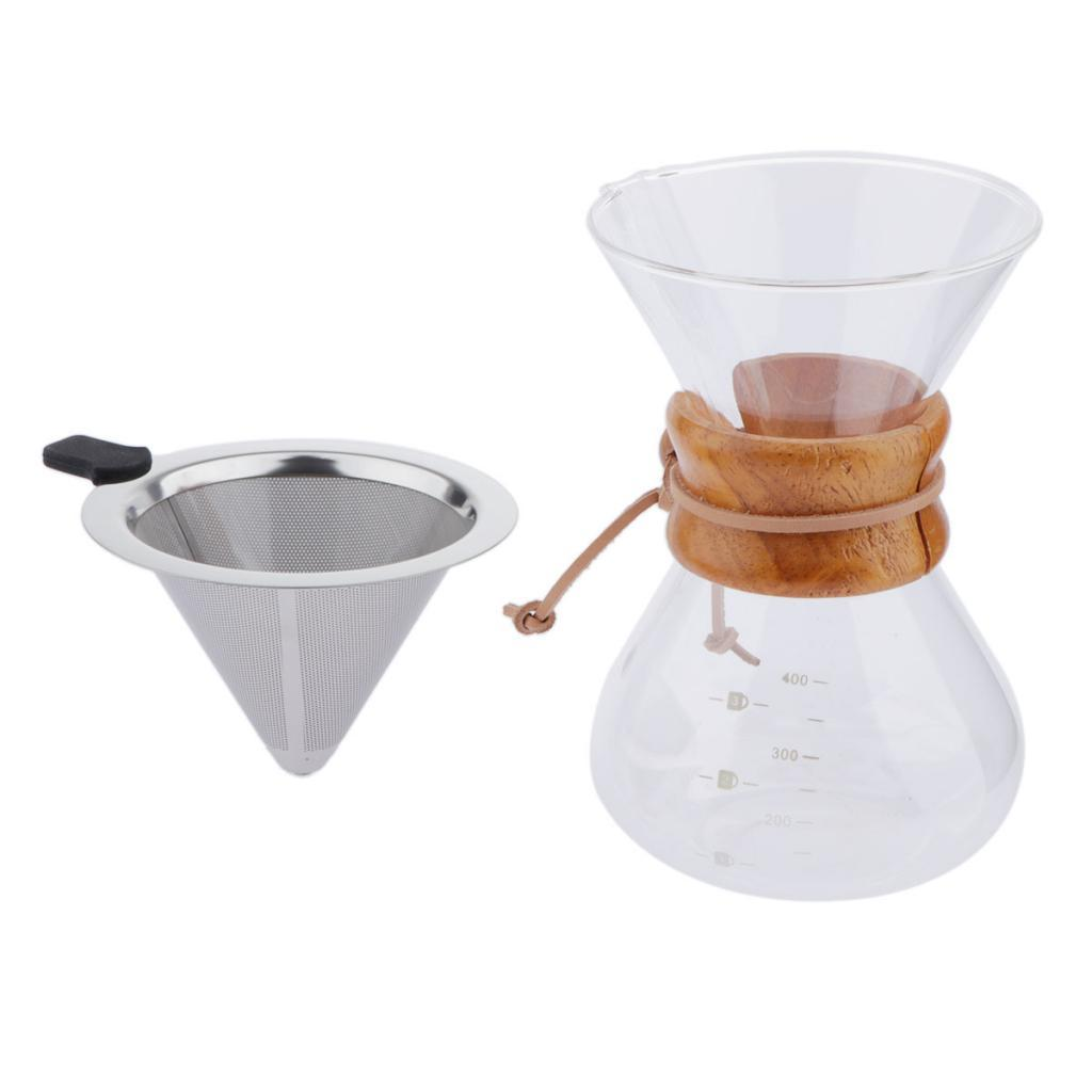 Glass-Coffee-Maker-200ml-400ml-Carafe-Pour-Over-Coffee-Pot-w-Dripper-Filter thumbnail 3