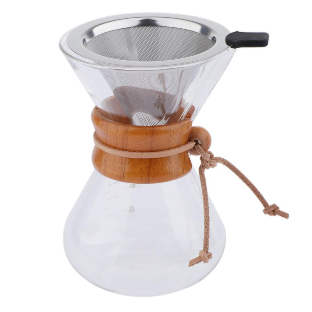 200ml-400ml-Carafe-Classic-Pour-Over-Coffee-Maker-Dripper-Glass-Pot-w-Filter thumbnail 4