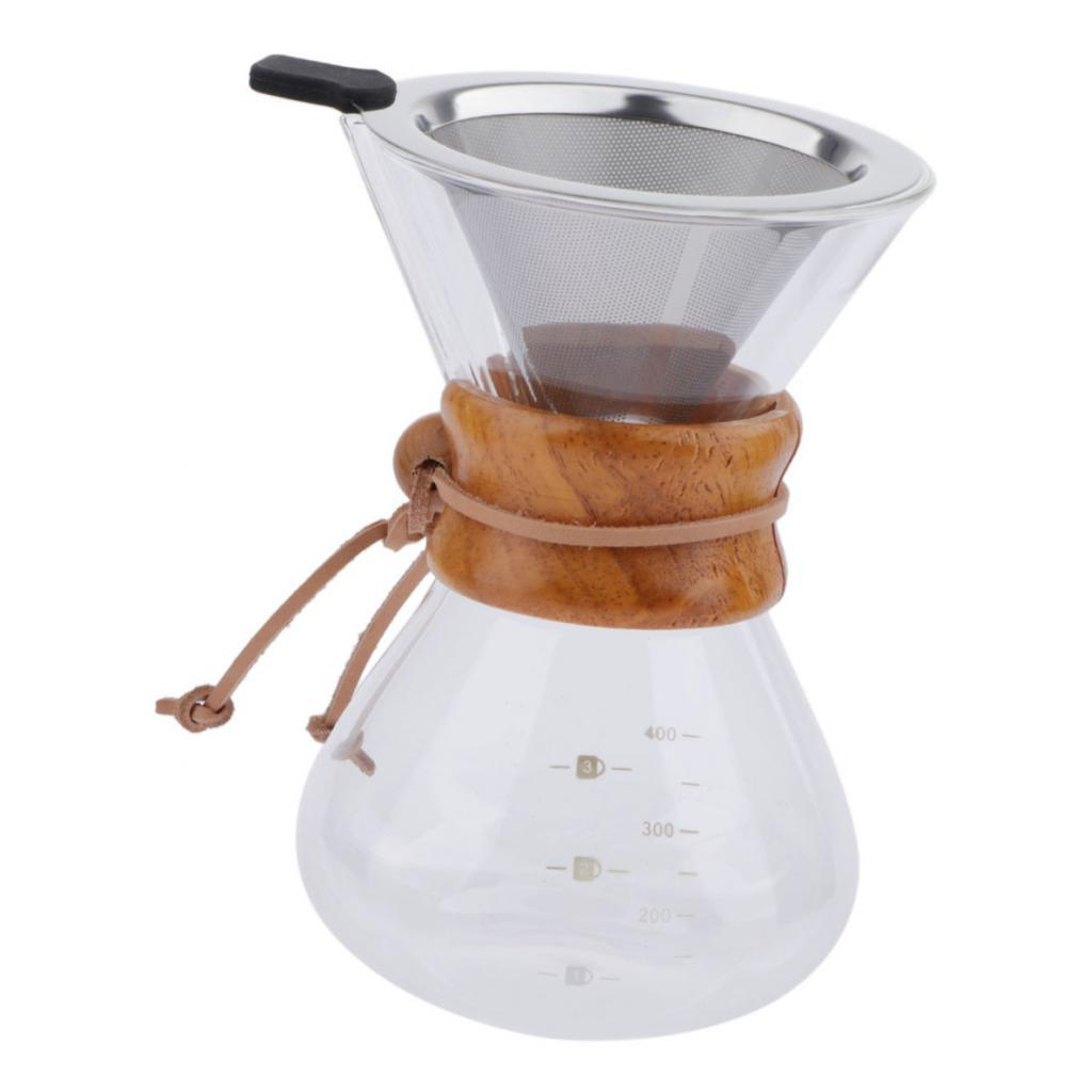 Coffee-Maker-Set-Pour-Over-Hand-Drip-Pot-Cone-Coffee-Dripper-Filter-Net thumbnail 5
