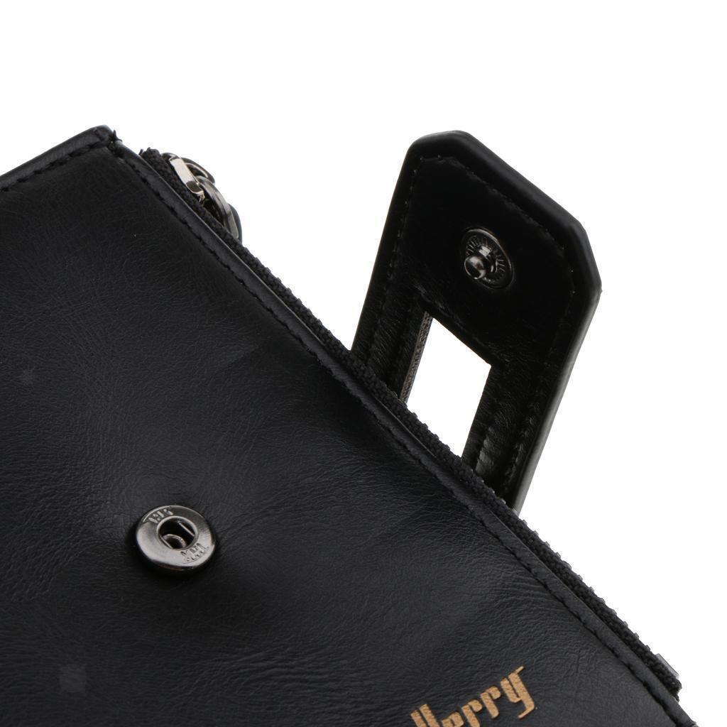 Homme-Porte-cartes-en-Cuir-Grande-Capacite-avec-Fermeture-Eclair-Couleurs miniature 6