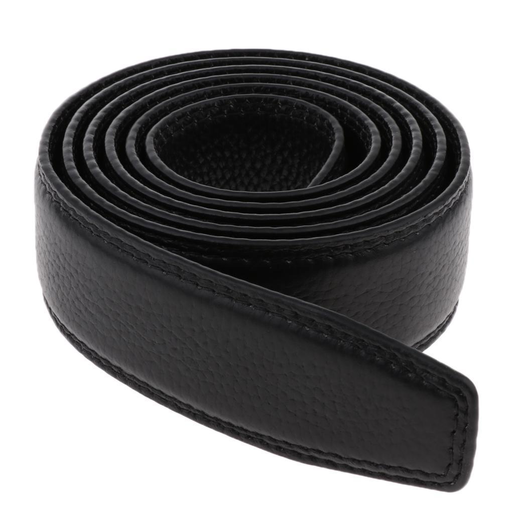 Cintura-senza-fibbia-in-pelle-PU-bordo-cucito-ricambio-per-uomo-35mm miniatura 8