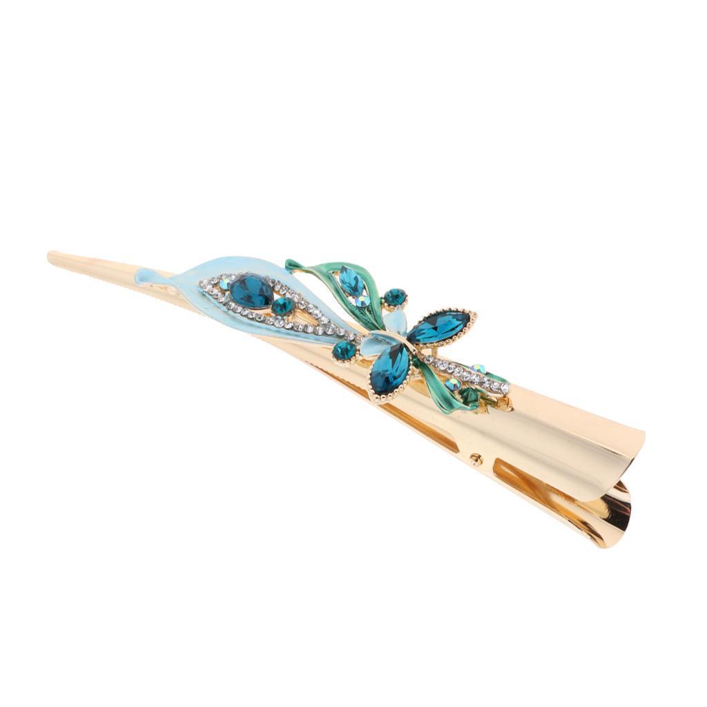 Fermacapelli-per-capelli-in-coccodrillo-con-strass-in-metallo miniatura 8