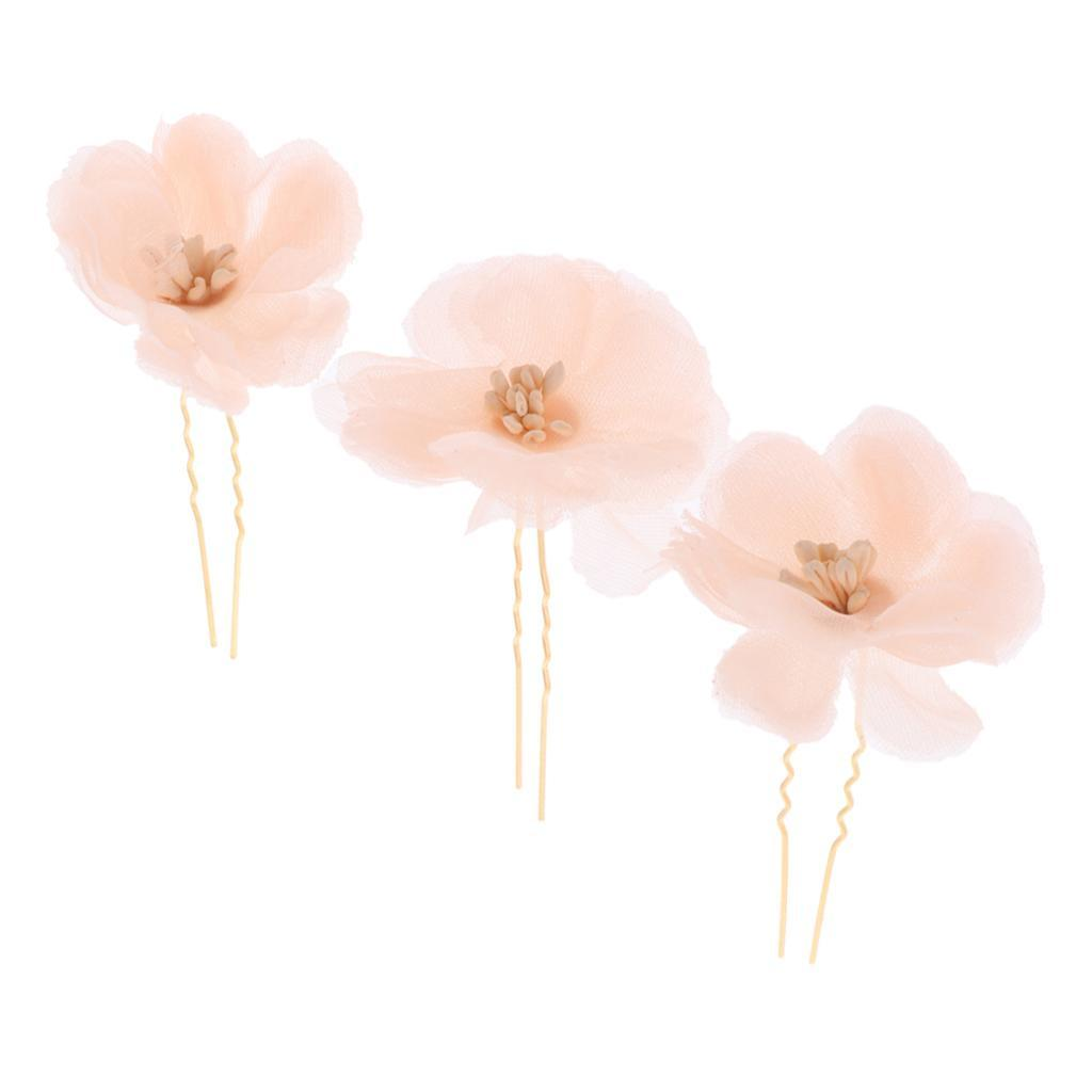3x-Flower-Hairpins-U-Shape-Hair-Sticks-Bridal-Bride-Headdress-Hair-Pin-Clip thumbnail 20