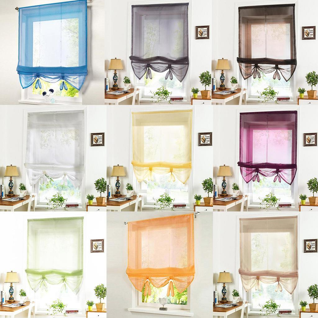 Elegant Sheer Roman Curtains, Adjustable Tie-Up Shades, 1