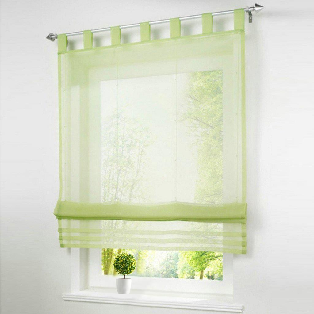 Roman Curtains White Sheer Voile Window Shade Blinds Panel