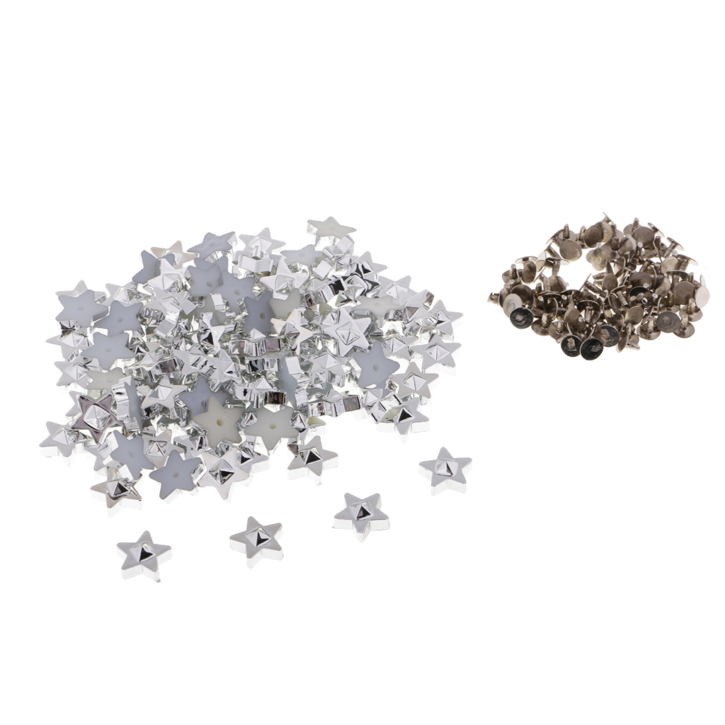 100 Sets Plastic Star Rivets Studs Spikes Buttons for DIY Bags Shoes Decor 11mm