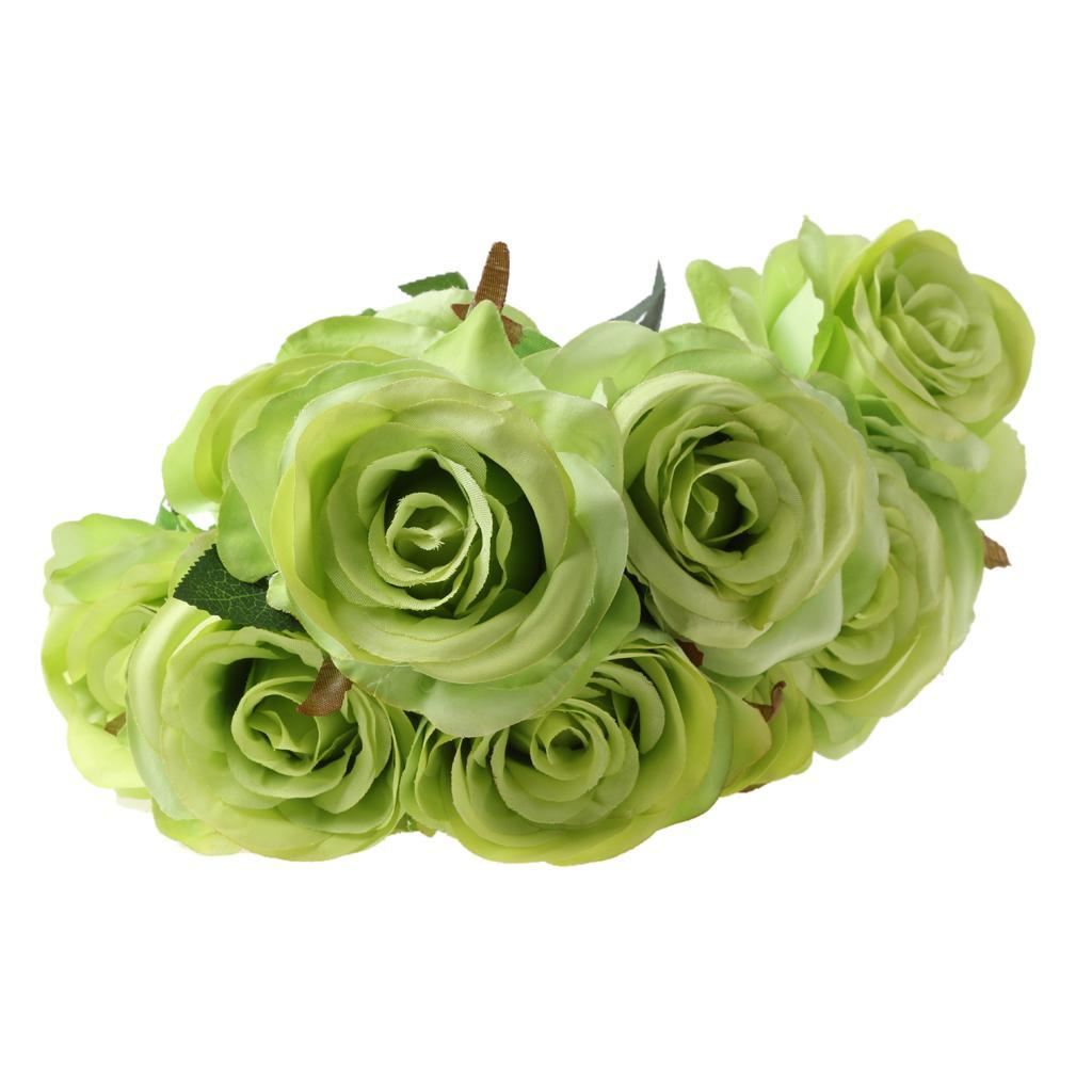 Large-9-HEADS-Artificial-Rose-Silk-Flowers-Fake-Floral-Valentines-Wedding-Decors thumbnail 25