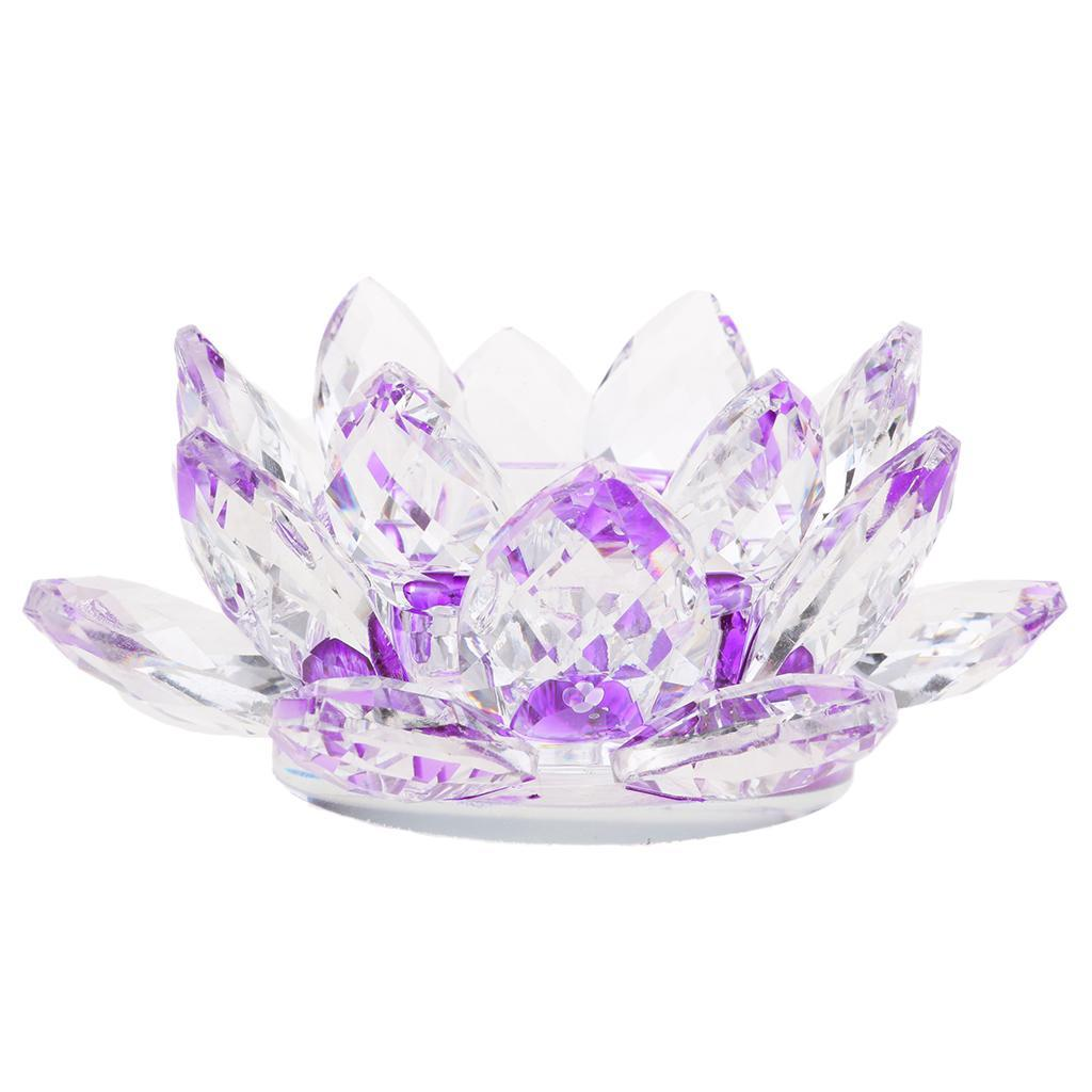 2Pcs-Buddhist-Crystal-Glass-Lotus-Candle-Holder-Decor-12x5cm-Home-Decoration thumbnail 10