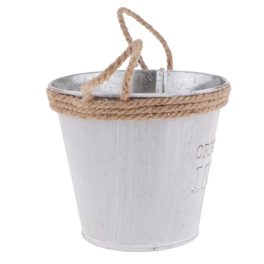 French-Galvanised-Metal-Tin-Flower-Succulent-Plant-Pot-Bucket-Flower-Vase thumbnail 10