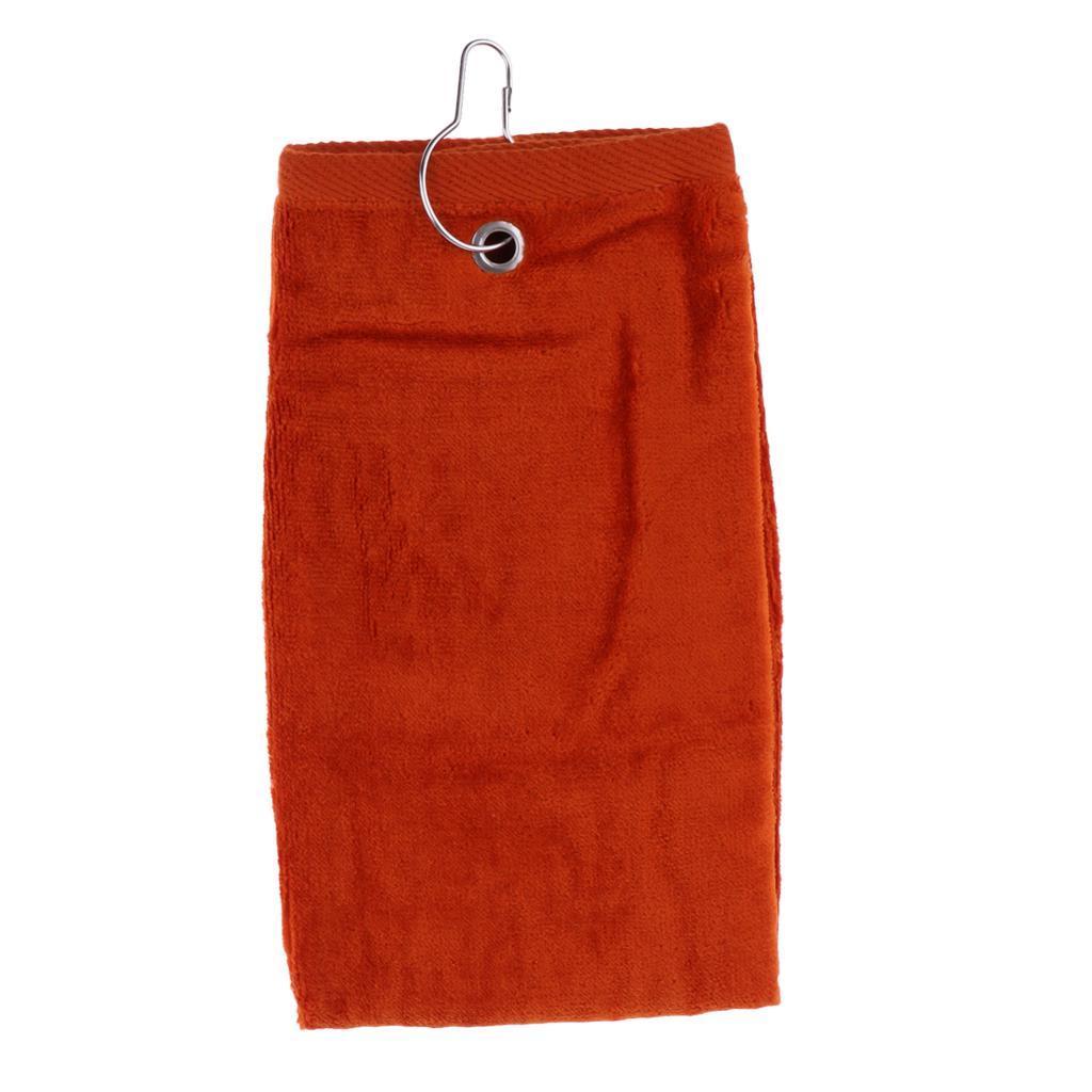 55x40cm-Cotton-Tri-Fold-Hiking-Cotton-Golf-Sport-Bag-Towel-W-Carabiner-Clip thumbnail 7