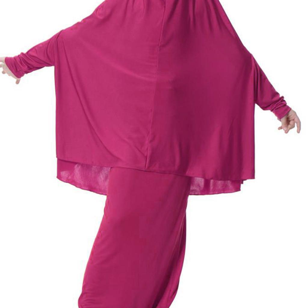 Fille-Robes-Musulmane-Islamique-a-Manches-Longues-Deux-Pieces-Priere-Robe miniature 15