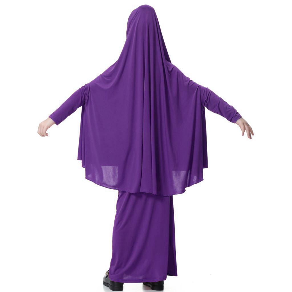 Fille-Robes-Musulmane-Islamique-a-Manches-Longues-Deux-Pieces-Priere-Robe miniature 33