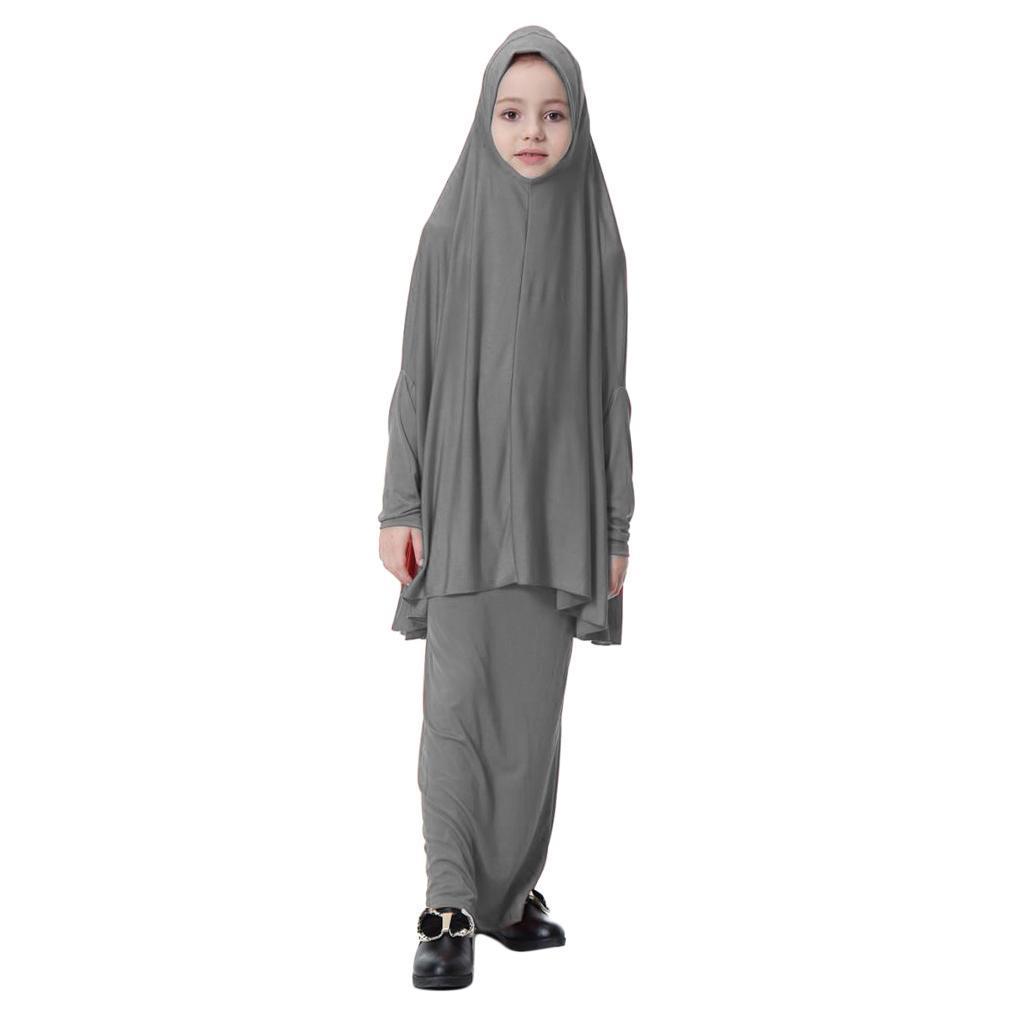 Fille-Robes-Musulmane-Islamique-a-Manches-Longues-Deux-Pieces-Priere-Robe miniature 48