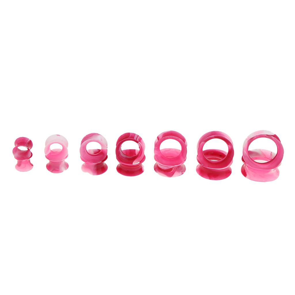 7-paia-di-colori-mix-Silicone-flessibile-Ear-Gauges-Thin-Soft-Plug-Flesh miniatura 13