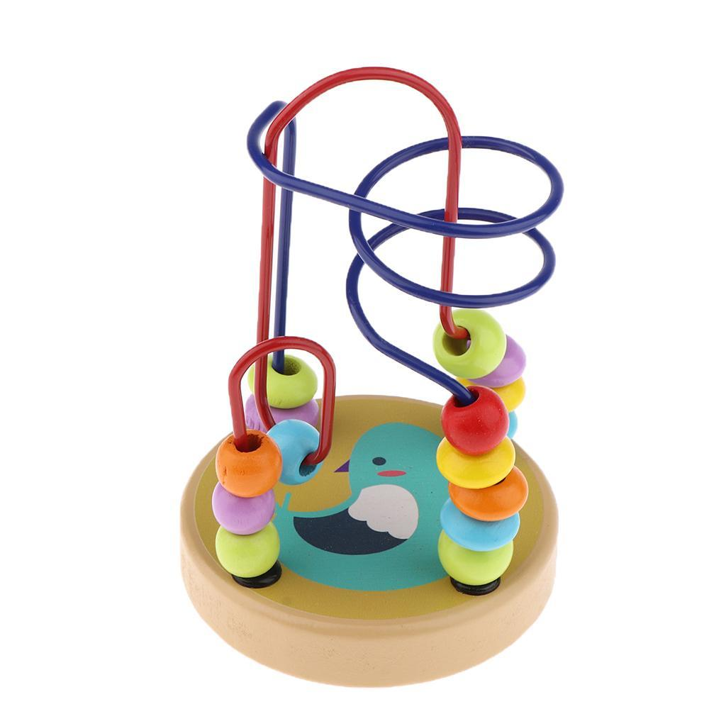 thumbnail 17 - Wooden Colorful Roller Coaster Educational Circle Bead Maze Toy for Toddlers