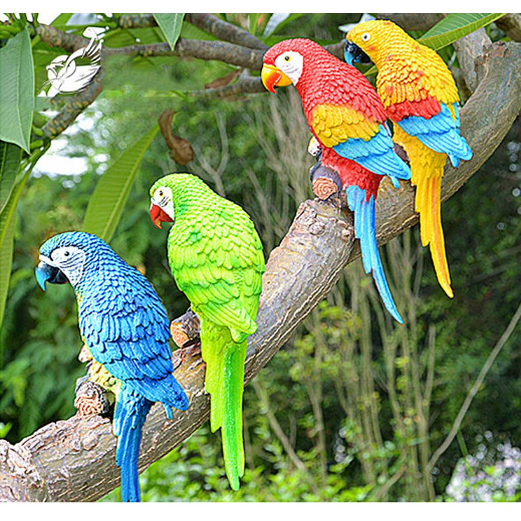 Tropical Macaws Wall Sculpture Resin Simulation Parrot Model Hanging Decoration