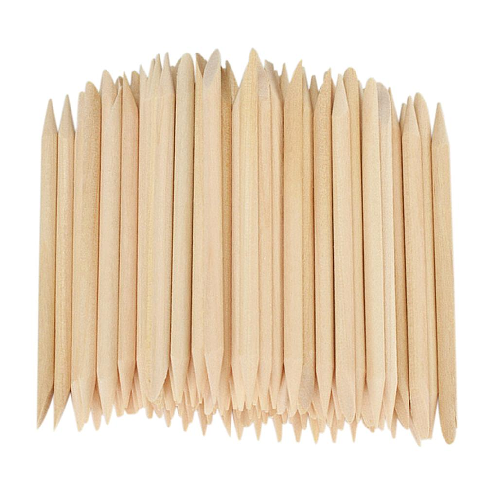 100Pcs Orange Wood Cuticle Pusher Remover Disposable Manicure and Pedicure Tool for Fingernails and Toenails