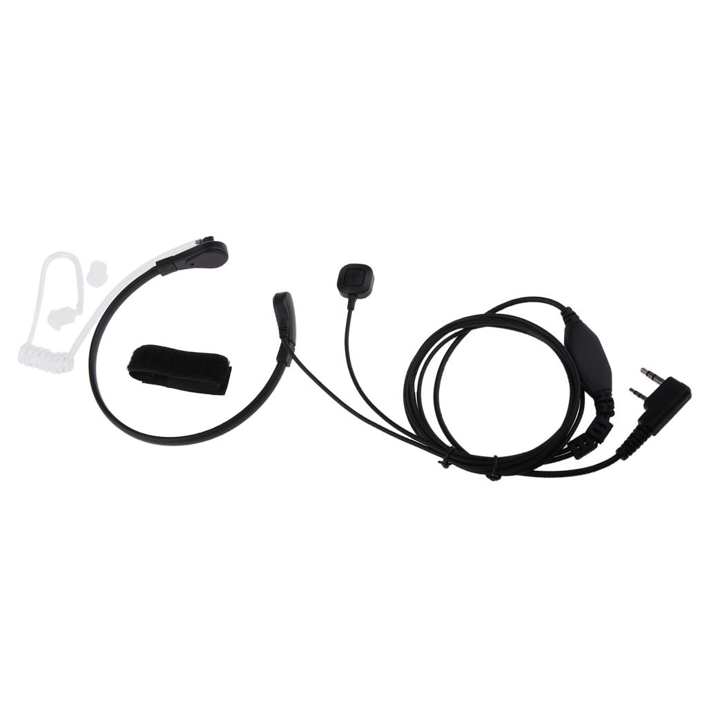 Mic Microphone Covert Acoustic Tube Earpiece Headset with Finger PTT for Baofeng Kenwood Two Way Radio Walkie Talkie 2pin
