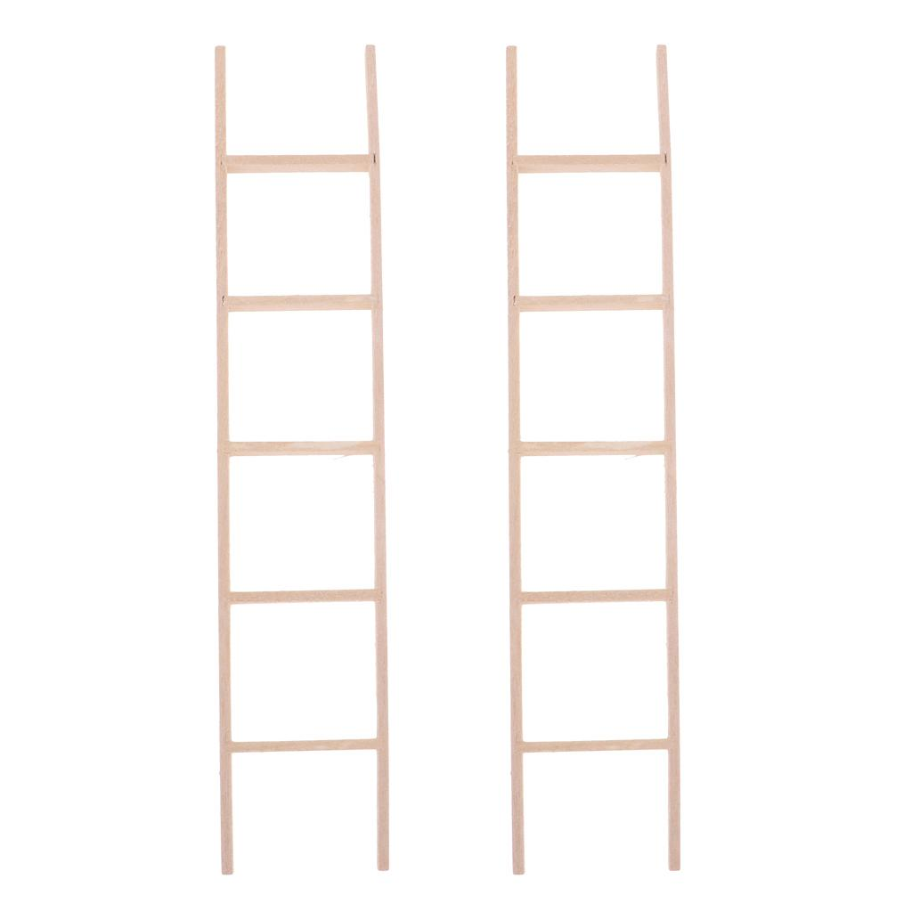 Miniature Straight Wooden Ladder For Dollhouse Outdoor Accessories 2 Piece