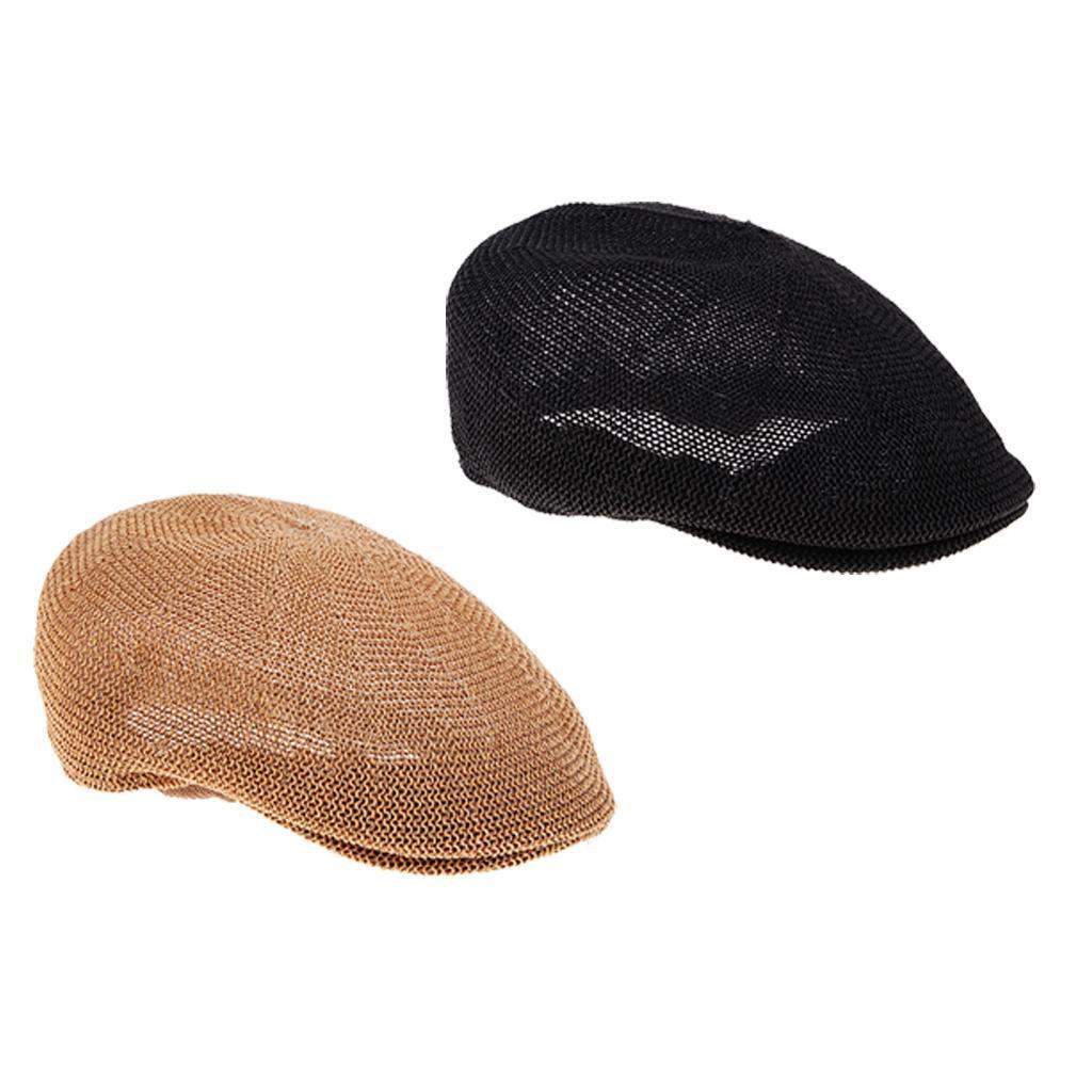 cappello-estivo-da-uomo-estivo-in-paglia-traspirante-berretto-newsboy miniatura 5