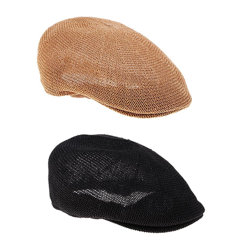 cappello-estivo-da-uomo-estivo-in-paglia-traspirante-berretto-newsboy miniatura 3