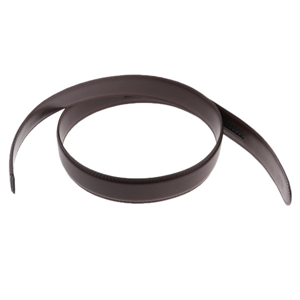 Mens-Leather-Belt-For-Automatic-Buckle-Waist-Strap-Belt-Brown-Black-115cm thumbnail 4