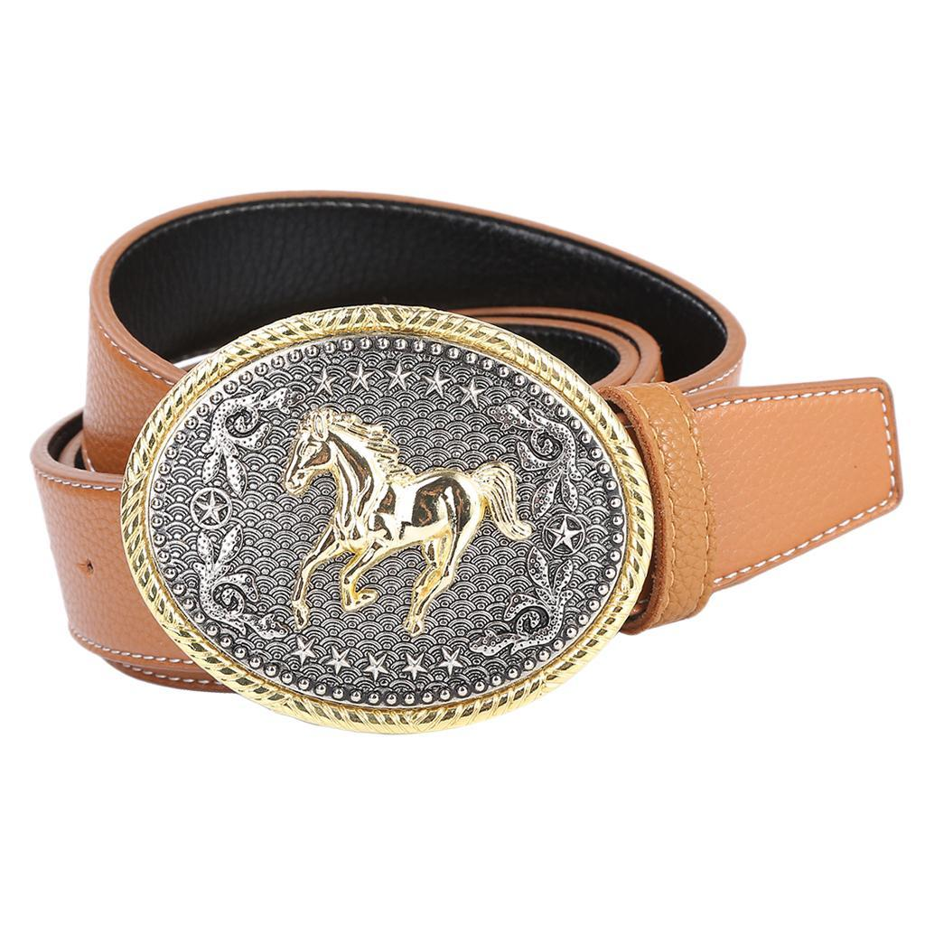 Retro-Western-Cowboy-Leather-Belt-Indian-Oval-Running-Horse-Buckle-Waistband thumbnail 5
