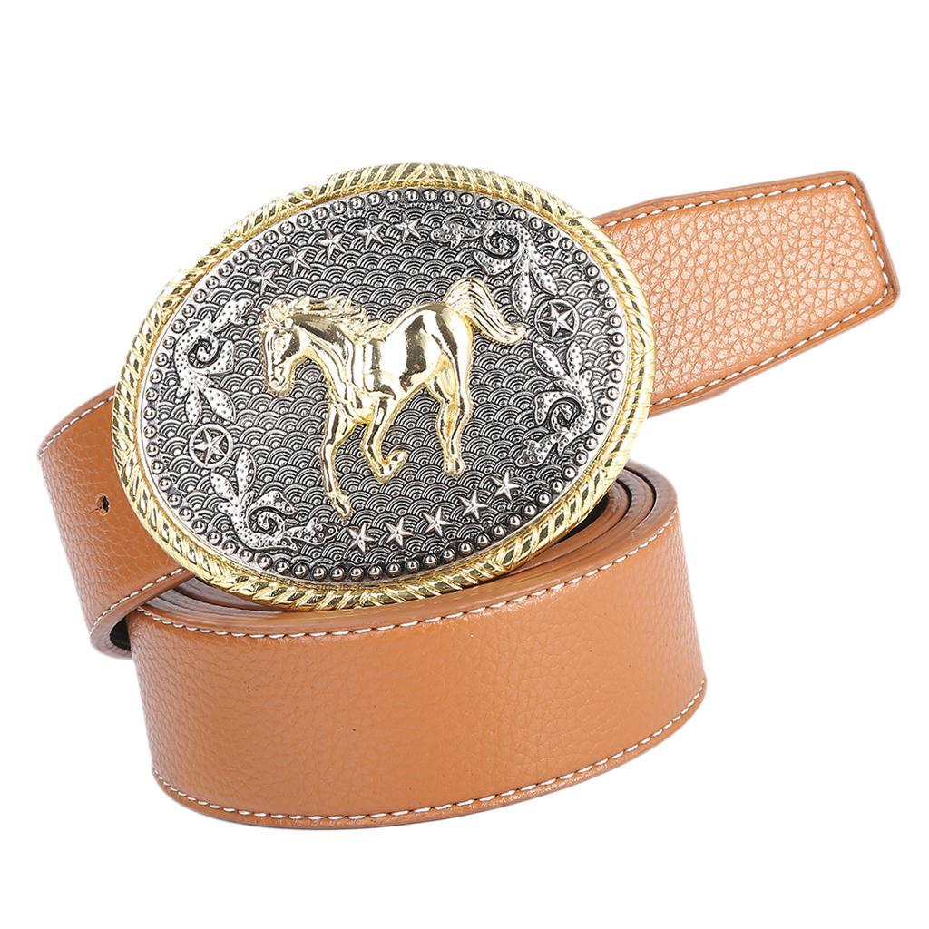 Retro-Western-Cowboy-Leather-Belt-Indian-Oval-Running-Horse-Buckle-Waistband thumbnail 6