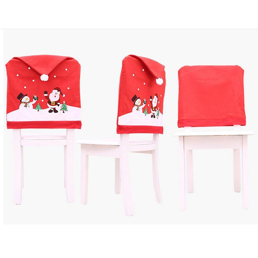 Chair Back Cover Protector Christmas Snowman Santa Claus