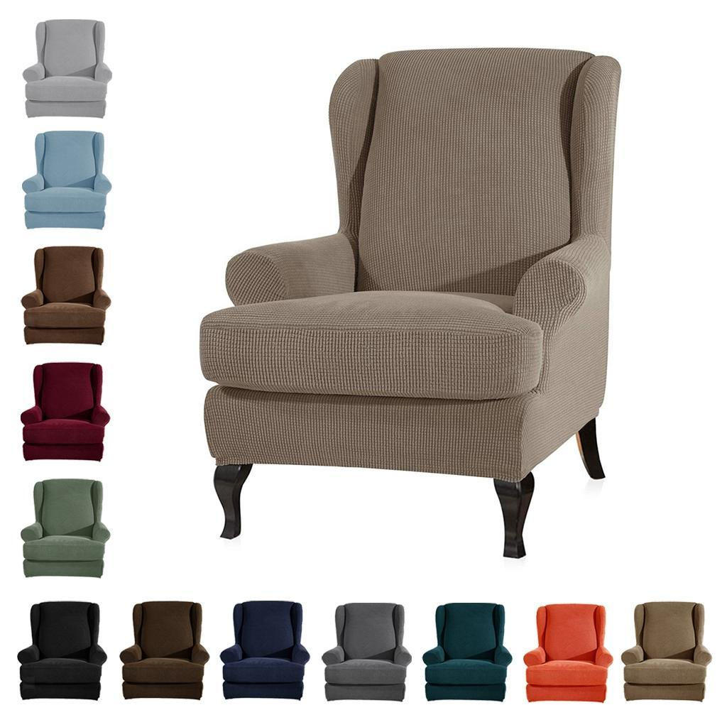 Soft Stretch Wing Back Sofa Cover Arm Chair Furniture Slipcover Solid Color